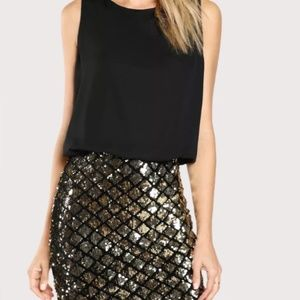 NWT Two Tone Sparkle Combo Dress / Black Dress